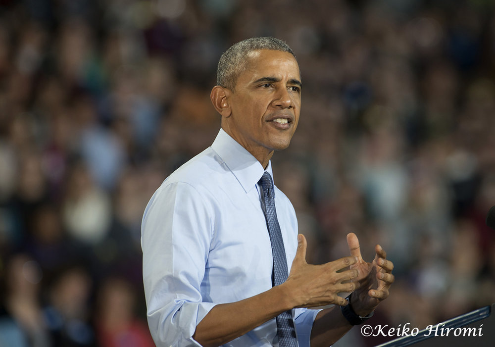 President Barack Obama campaigns for Democratic Presidential candidate Hillary Clinton at University of New Hampshire in Durham, New Hampshire.