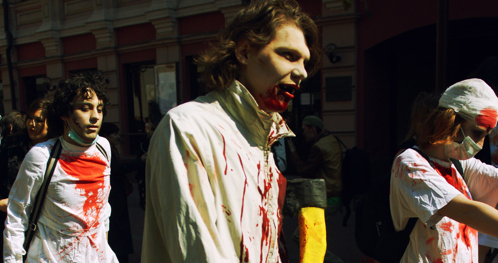 Public displays of zombie fascination, here marching in Moscow.