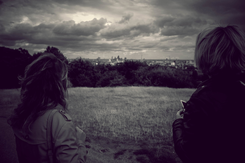 Great view of London from the top of Parliament Hill, same path leading into Hampstead Heath