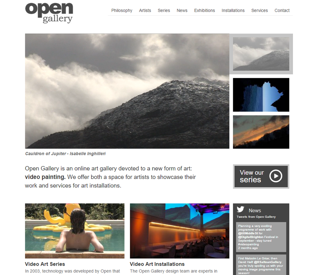 Client: Open Gallery (online art gallery and high end video installations)