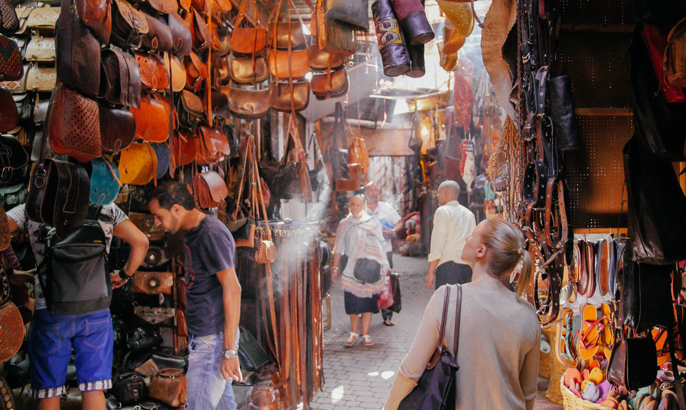 Leatherland. You'll find tons of tanners in the souks' alleys working on making new handbags, belts and any other leather accessories.