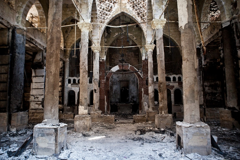 The Amir Tadros coptic Church in Minya on Sunday. The building was set ablaze on Aug. 14. (Virginie Nguyen Hoang/AFP/Getty Images)