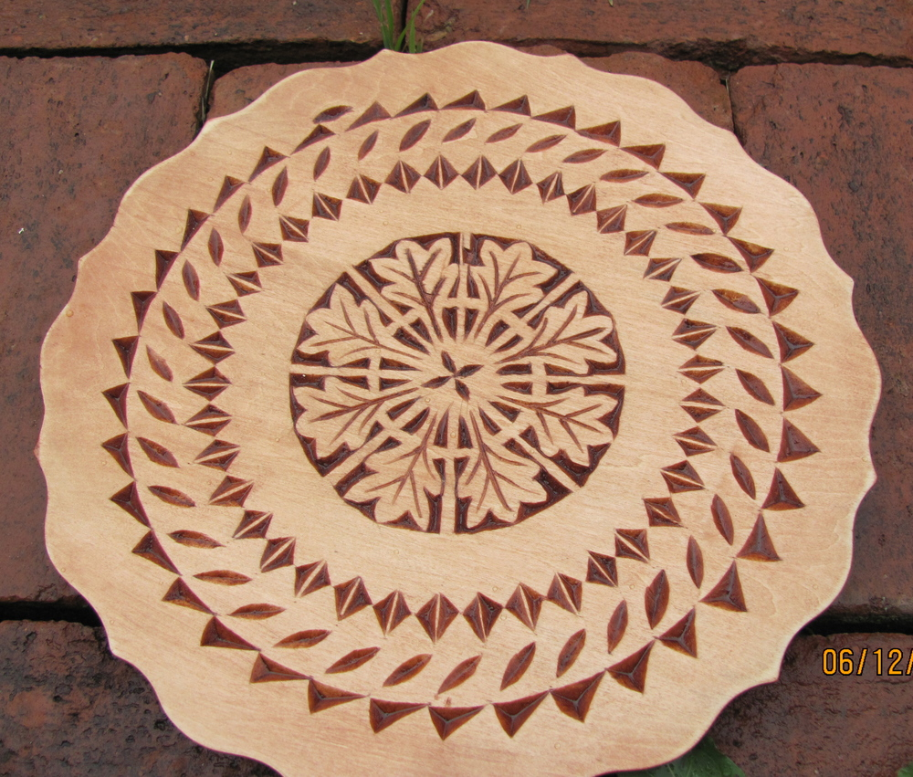 Chip carved basswood plate