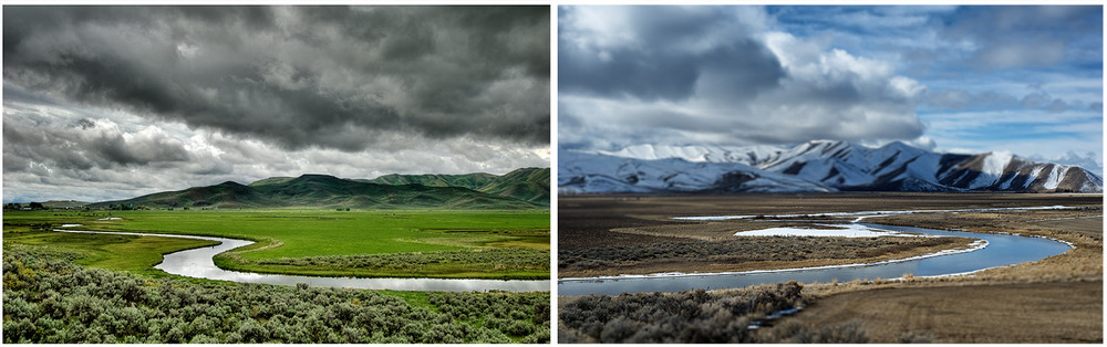 Two Seasons. Diptych. Silver Creek, Idaho