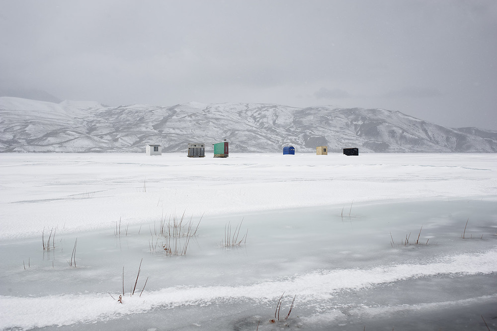 Mackay Reservoir Ice Fishing Huts. Idaho