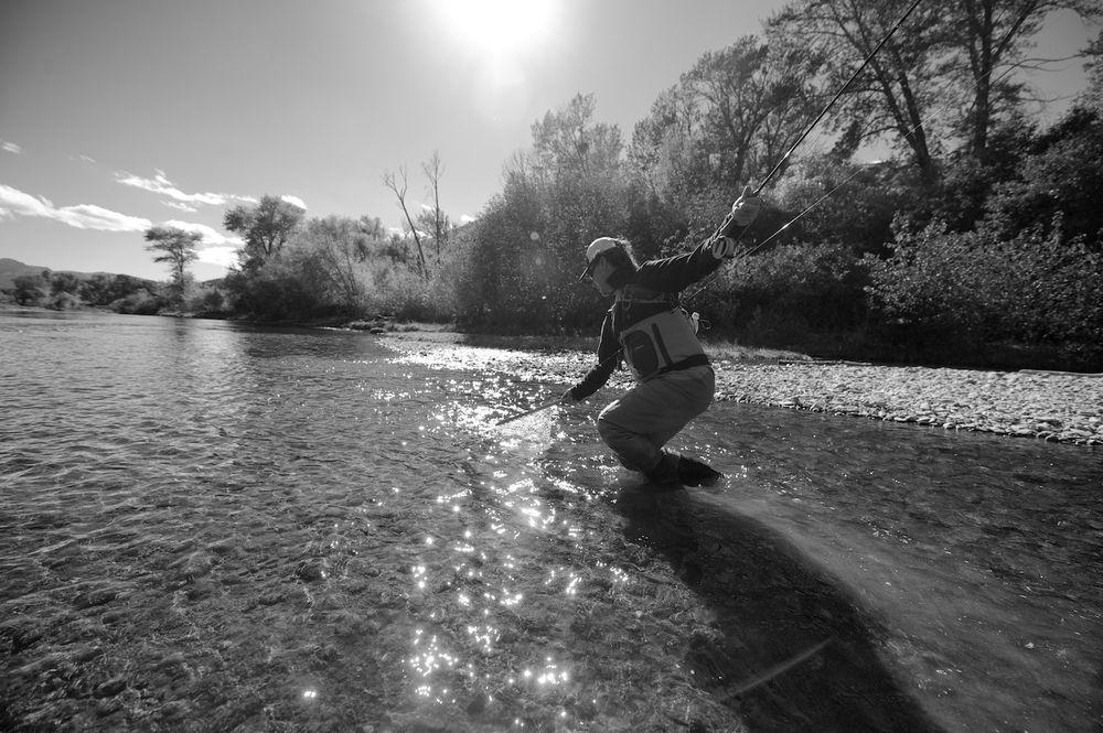 Brent Bernard checking his wingspan. Big Lost River, Idaho.