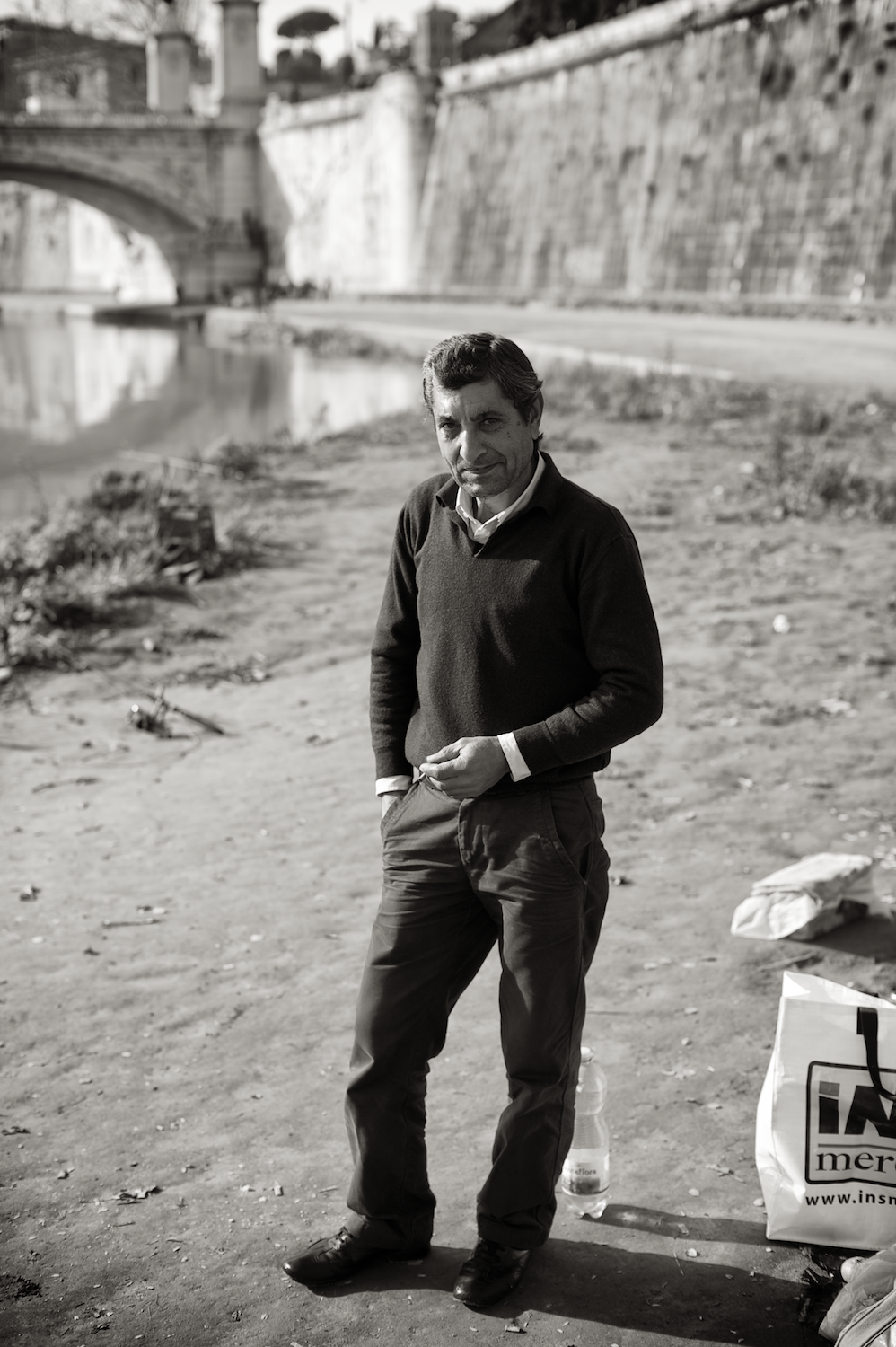 Fisherman. Tiber River. Rome, Italy.