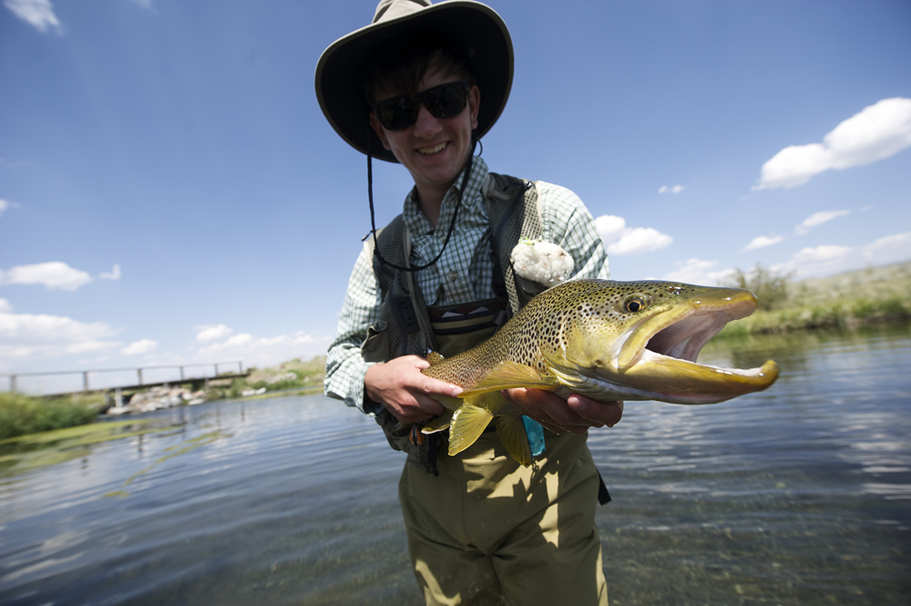 Harrison Kapp all grins after landing this brown.