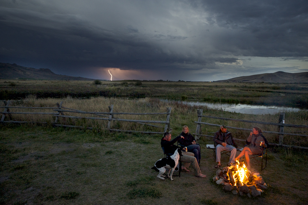 Passing Storm & Campfire. Silver Creek, Idaho