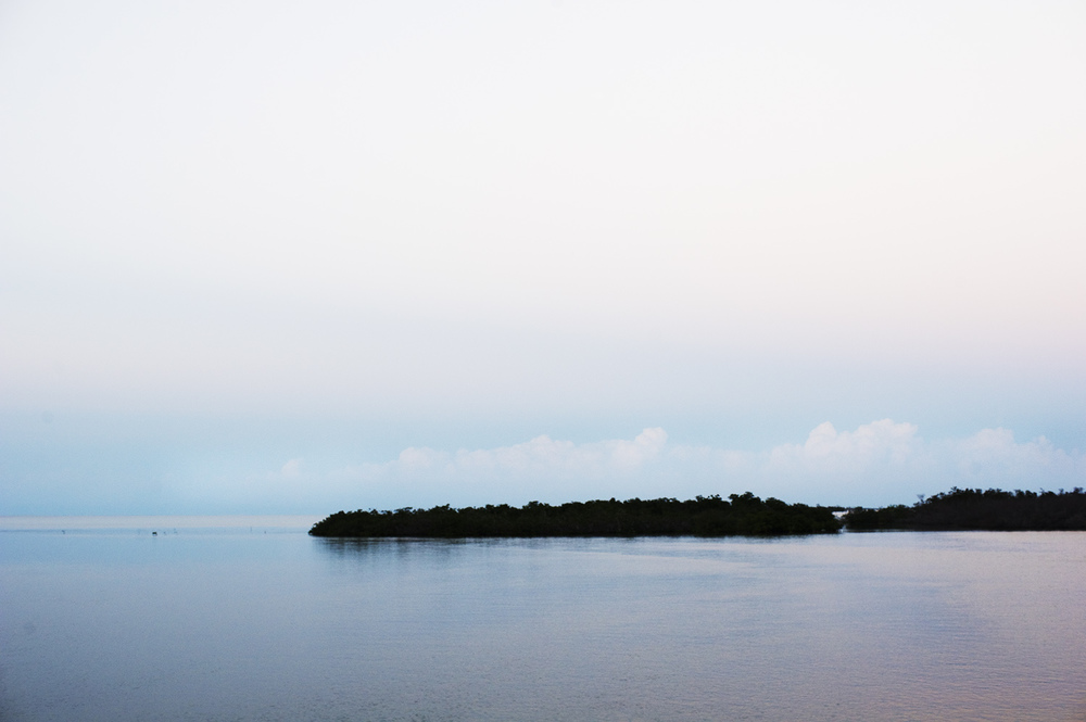 Last Light. Mangroves & Cays & Distant Cumulus Clouds. Jardines de la Reina, Cuba
