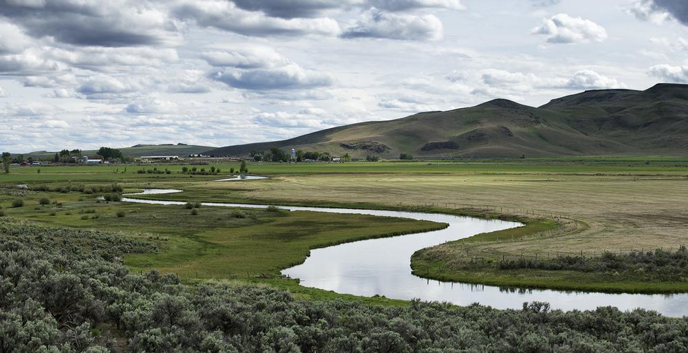 Silver Creek & Picabo, Idaho. 3 image panorama.
