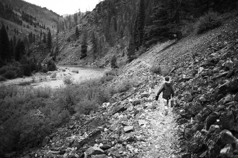 With the Middle Fork of The Salmon blown out and muddy from strong thunderstorms, we hiked to small creeks with clear water to filter our drinking water. Charlie, pictured, walks back upstream to Dolly Lake with the goods.