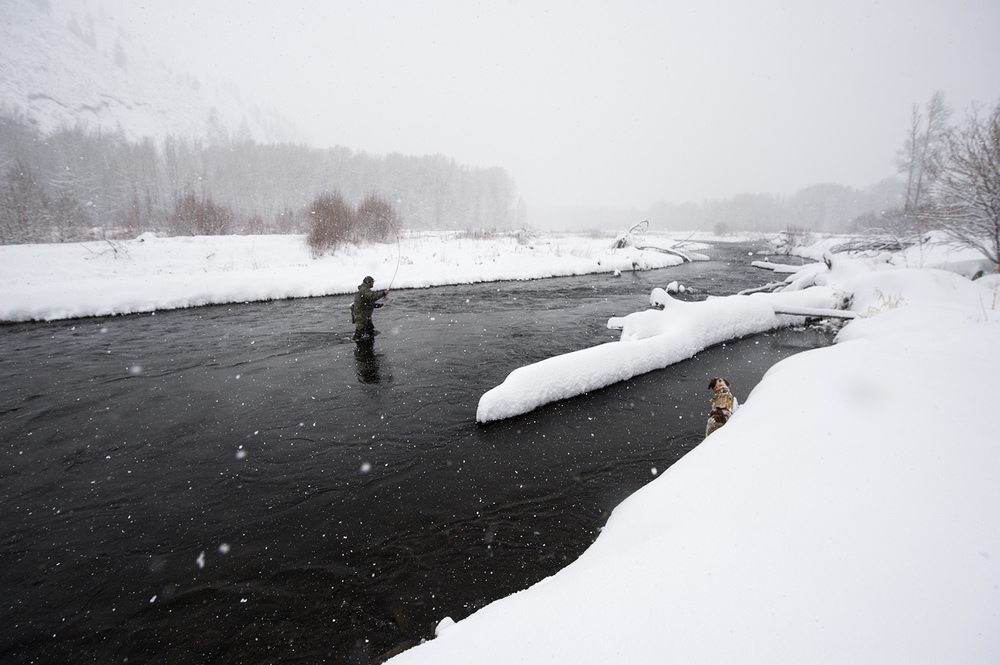 Guide Zac Mayhew getting in a little winter-time casting on the Big Wood River, Idaho.