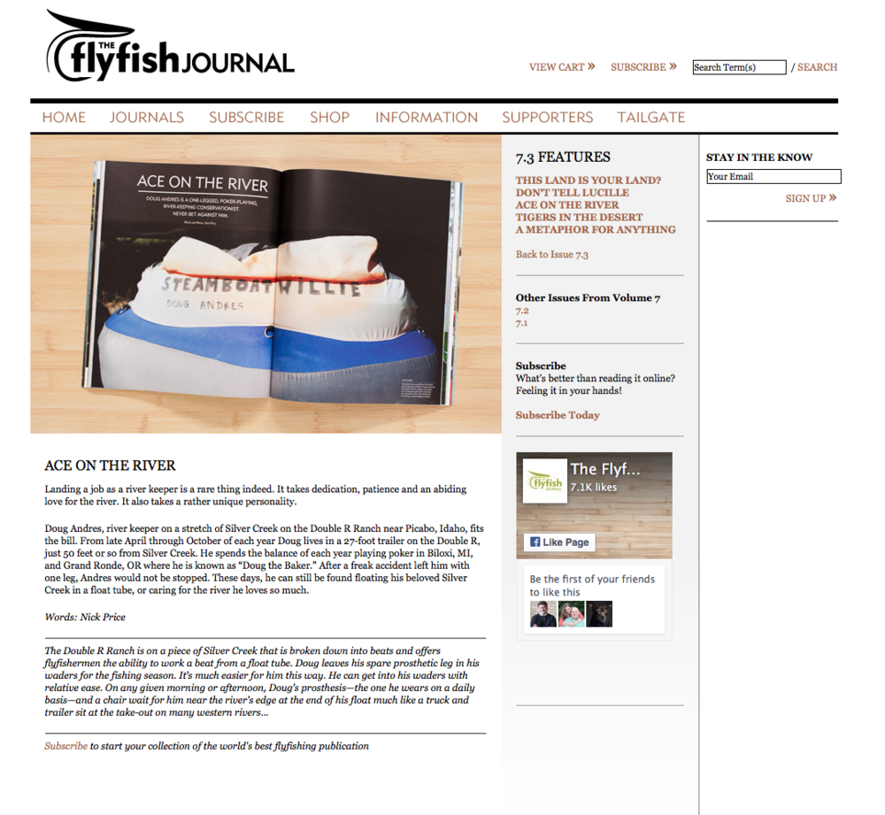 Feature story, both words and photography, in issue 7.3 of The FlyFish Journal.