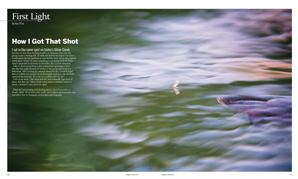 Two page image in Anglers Journal spring of 2017 issue.