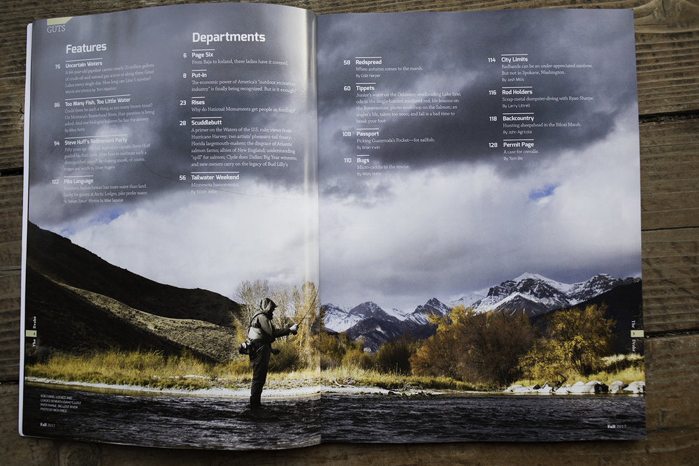 Two page image in the fall of 2017 The Drake magazine.