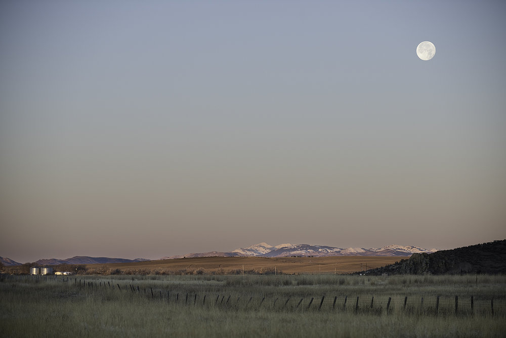 Moonset. Picabo, Idaho.