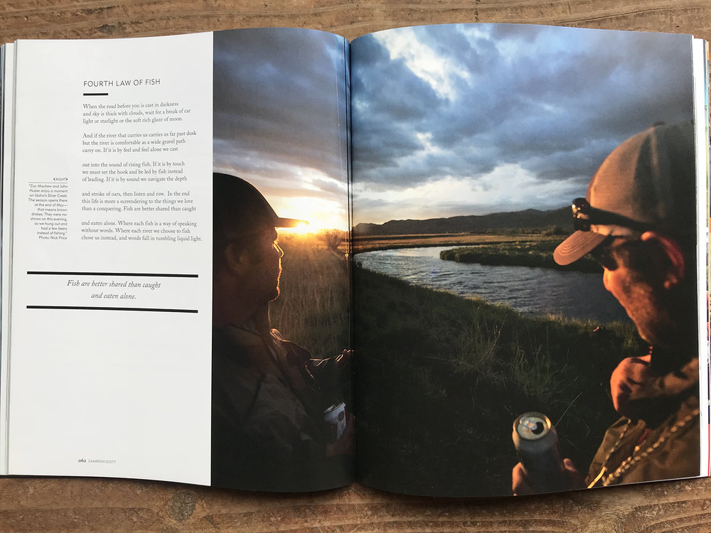 Two images in the spring of 2018 The flyFish Journal (Issue 9.3)