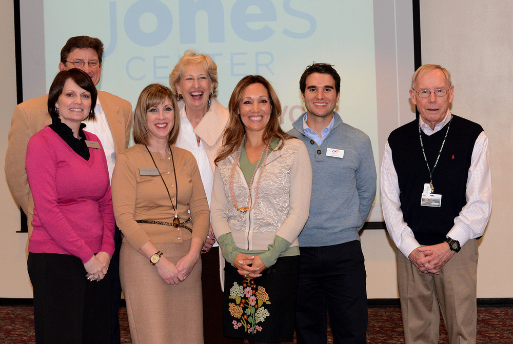 (F) Joy Heuer and Kelly Kemp-McLintock of The Jones Center; Tina Hodne Chair of The Jones Center Development Council (B) Mike Fohner of Youth Strategies; Susan Barrett, Chair of The Jones Trust Board; Alden Napier of Camp War Eagle; Ed Clifford of The Jones Center