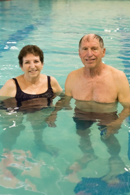 Bill: Using the pool and fitness center are great ways to get exercise and keep my 76-year-old body in shape.  I usually go to the fitness center 3 days a week and swim 6 days.   LaVeta: I usually swim about 40 minutes 5 mornings a week to keep my muscles and joints moving and to help strengthen my lungs and heart function. In spite of the large number of people who come to the Center, they keep it clean and maintain the upkeep.