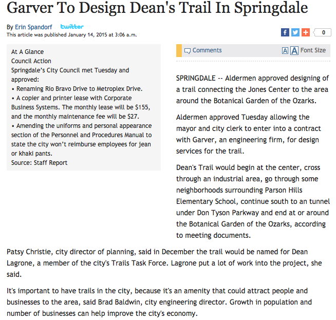 Click here to learn more about Dean's Trail which will go from The Jones Center to the Botanical Garden of the Ozarks.