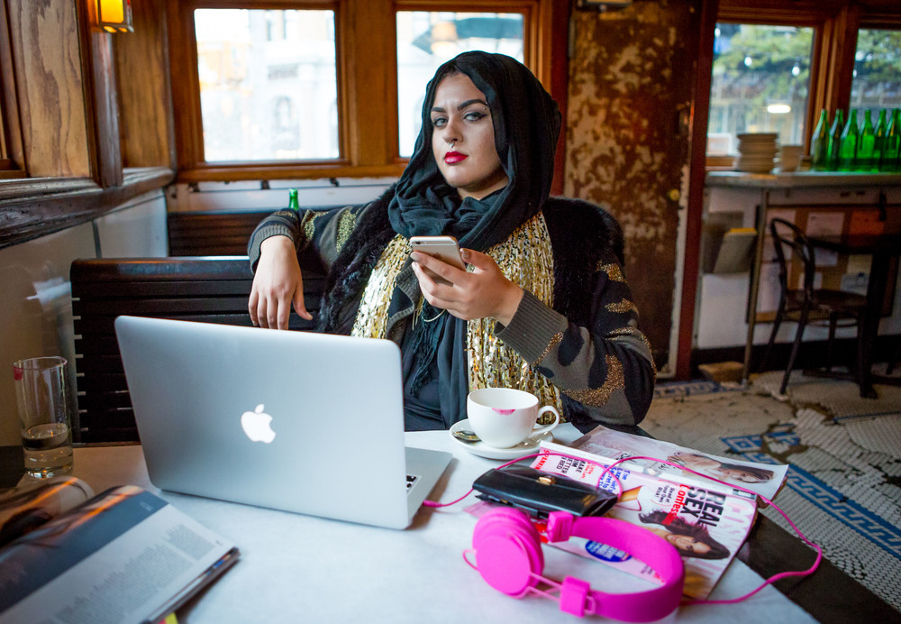 Amani Al-Khatahtbeh, founder of Muslimgirl.net, photographed in Brooklyn, NY,for  Women in the World .