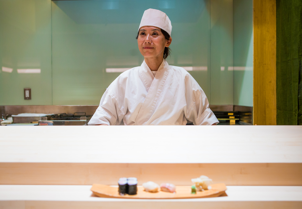 Nakaba Miyazaki, photographed behind the counter at critically acclaimed Sushi Yasuda in Manhattan, is one of few female sushi chefs who have made it to the top of the male dominated world of traditional sushi making.  Women have traditionally been barred from the art for unfounded reasons like the temperature of their hands due to menstruation. For  Women in the World .