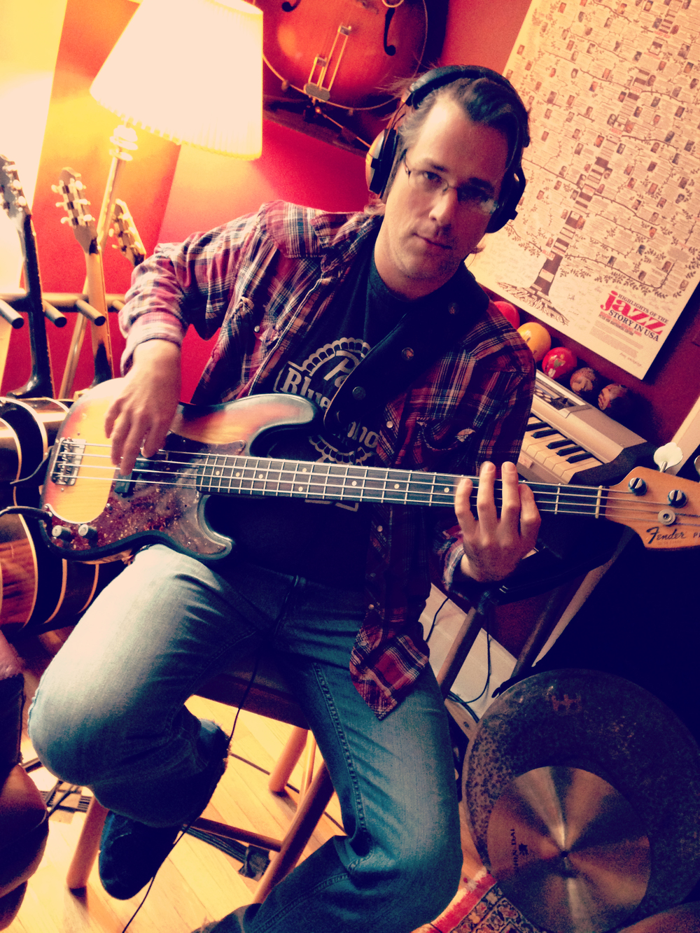 Matt Raymond playing his P Bass on Mikey Junior's recording session