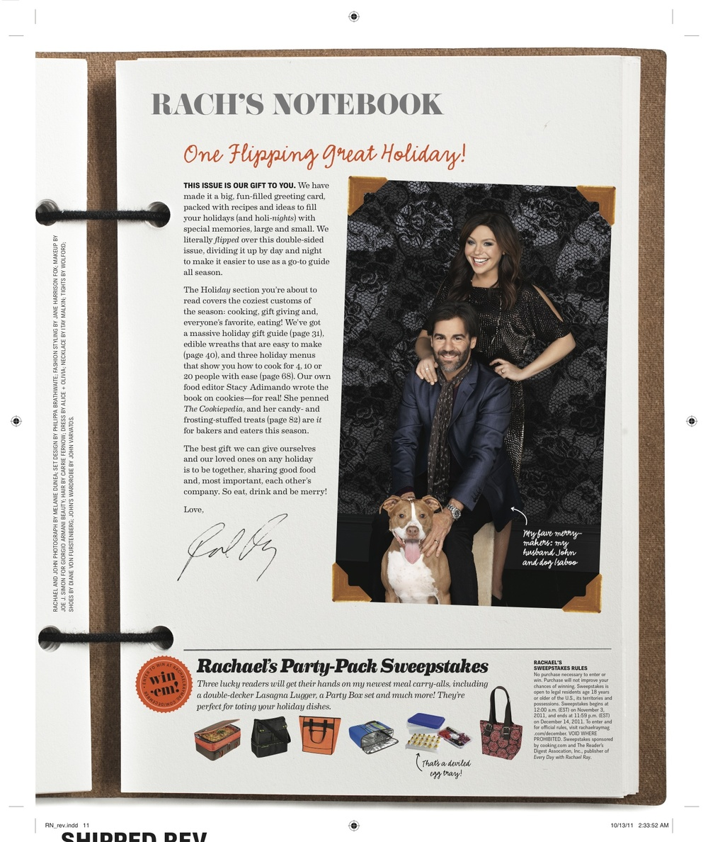 Editor's letter, Every Day with Rachael Ray, December 2011