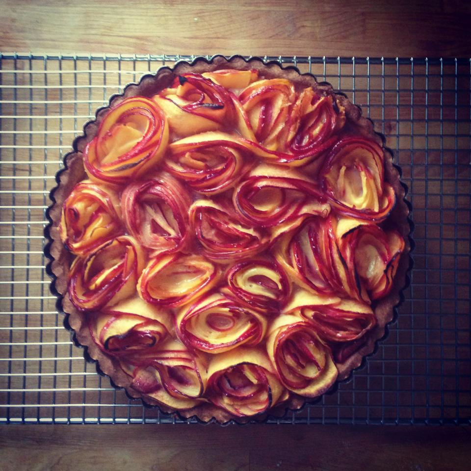 Homemade nectarine tart
