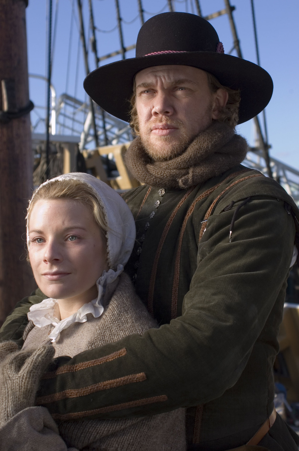 """William and Dorothy (May) Bradford, as portrayed by the History Channel's documentary """"Desperate Crossing."""" Promotional image courtesy of Lone Wolf Documentary Group."""