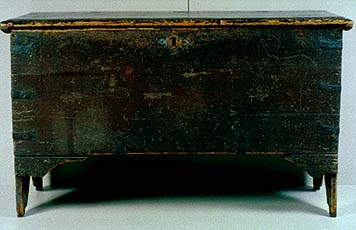 This chest, on display at the Pilgrim Hall Museum in Plymouth, is said to have been brought on the Mayflower by William Brewster.