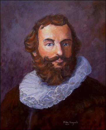 This modern portrait of Myles Standish by Mike Haywood.  It is based off a portrait that was purported to have been done in London in 1626.  Prints of this portrait can be obtained in the MayflowerHistory.com Store.