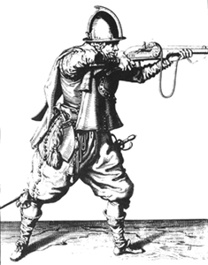17th century image of a man in armor with musket.  Myles Standish would have worn similar armor, clothing and used similar weapons to those seen here.