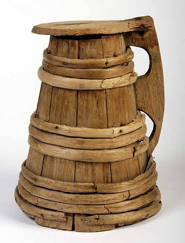 This oak and birch tankard is believed to have belonged to Mayflower passenger Peter Browne.  It is on display at the  Pilgrim Hall Museum  in Plymouth.