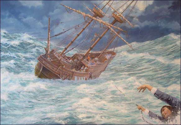 """Howland Overboard,"" a painting by maritime artist Mike Haywood.  Giclee canvas prints are available from the MayflowerHistory.com Store."