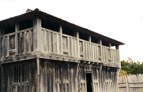 Reproduction of the Pilgrims' fort, which also functioned as the colony's church.
