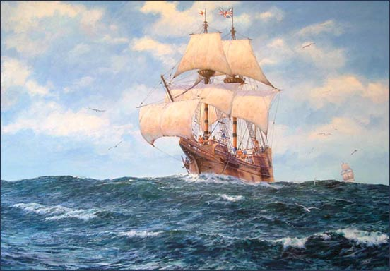 """""""Prosperous Wind,"""" a painting by maritime artist Mike Haywood. Giclee prints on canvas are available in the MayflowerHistory.com store."""