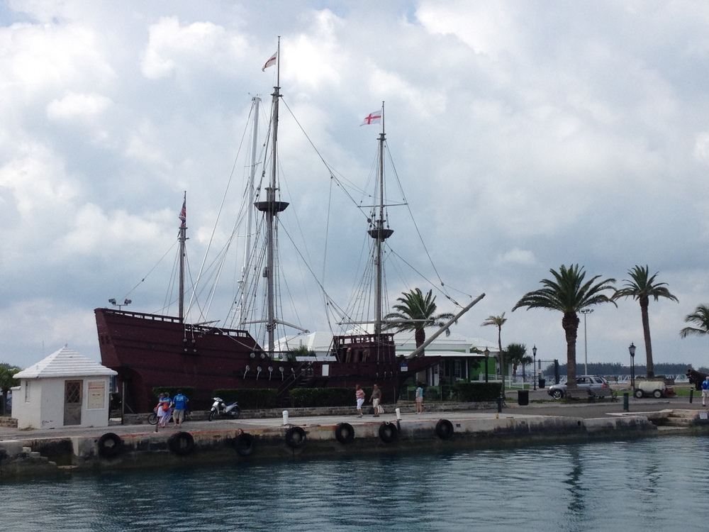 A full-scale reproduction of the ship Deliverance, one of the two ships that the Sea Venture castaways built to escape Bermuda for Jamestown, Virginia in 1610.