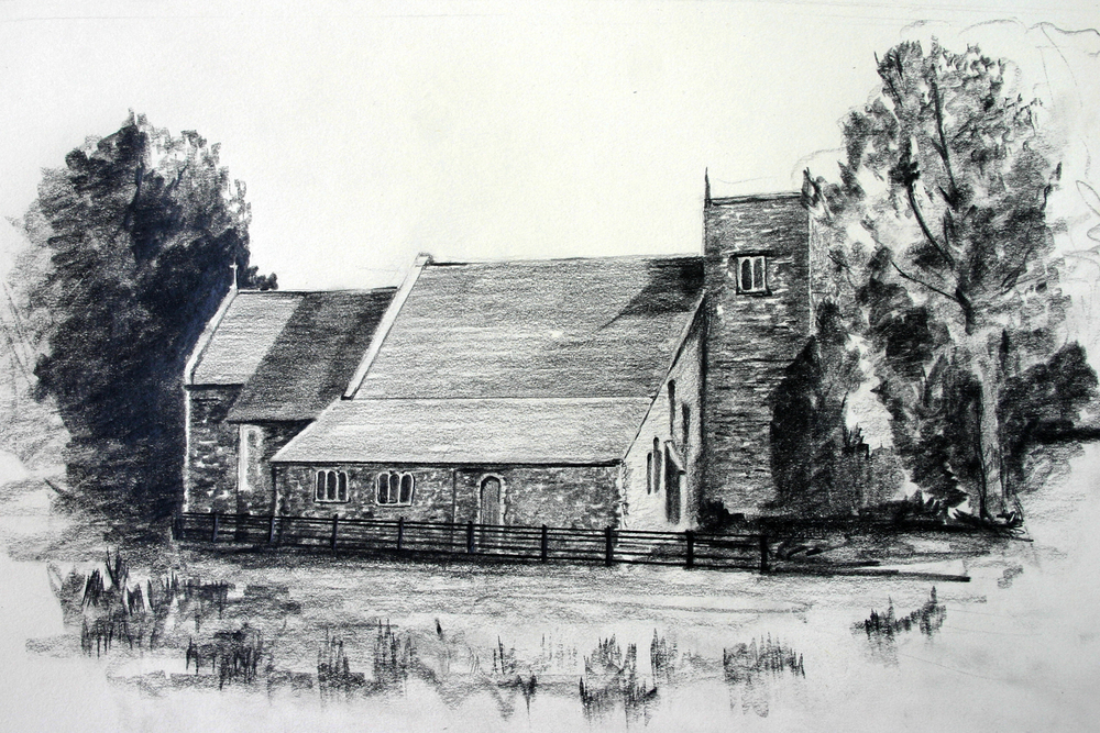 The parish church of Upper Clatford as it would have looked at the time Stephen Hopkins was baptized there in 1581.