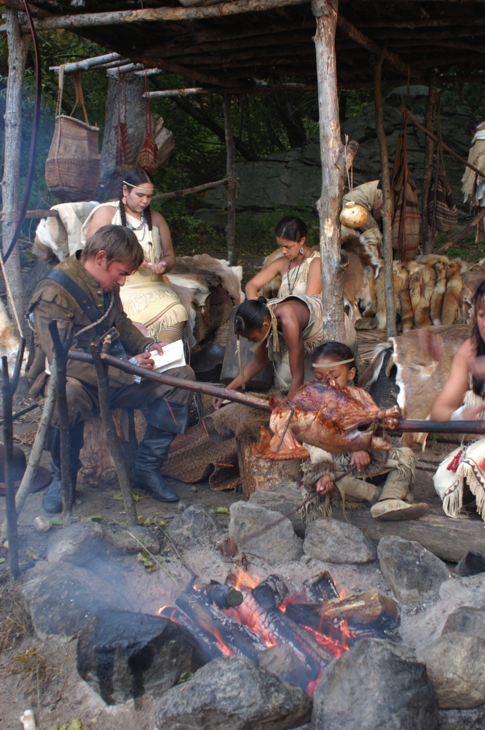 "Edward Winslow on his visit to the Wampanoag in 1621, as depicted for the documentary "" Desperate Crossing ."" Promotional image courtesy of Lone Wolf Documentary Group."