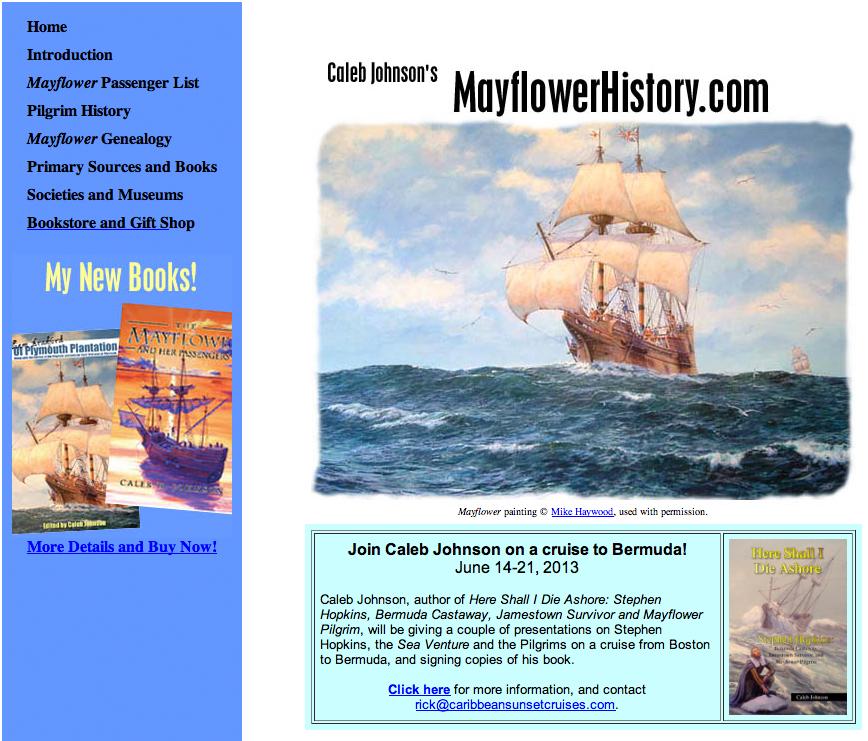 The old MayflowerHistory.com website, 2002-2012. R.I.P.