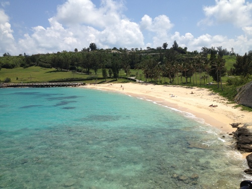 The beach in Bermuda where Stephen Hopkins and the otherSea Venturecastaways first came ashore after their 1609 shipwreck.