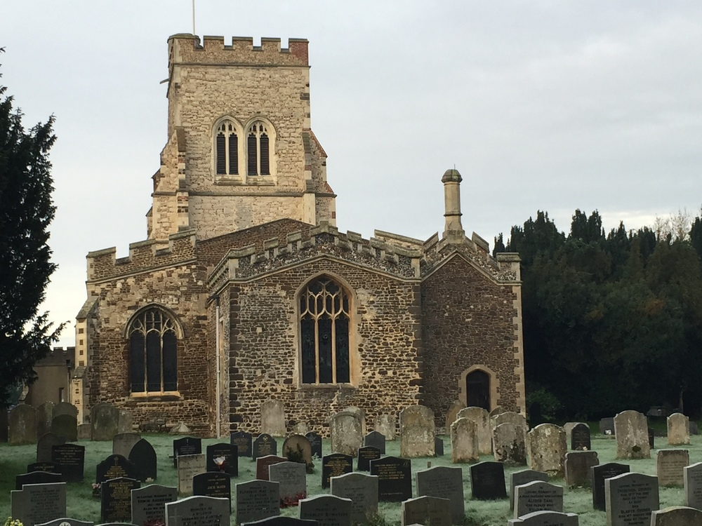 The parish church of Henlow, Bedfordshire, where Elizabeth Tilley was baptized in 1607.