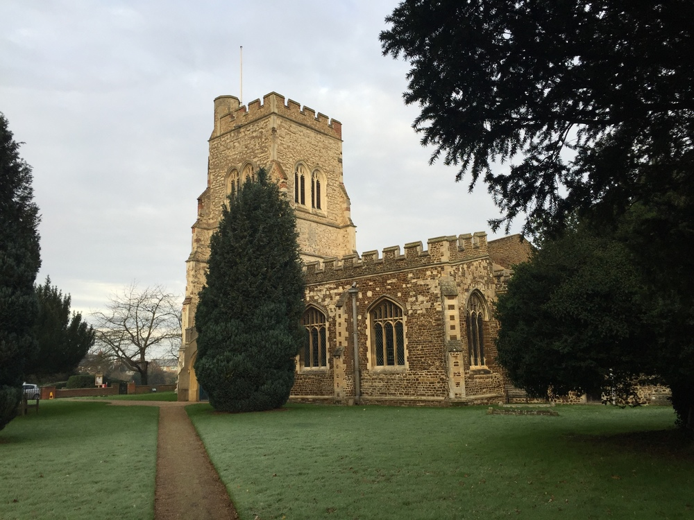 The parish church of Henlow, Bedfordshire, where Joan (Hurst)(Rogers) Tilley was baptized in 1568, married in 1593 and 1596, and where her children were baptized.