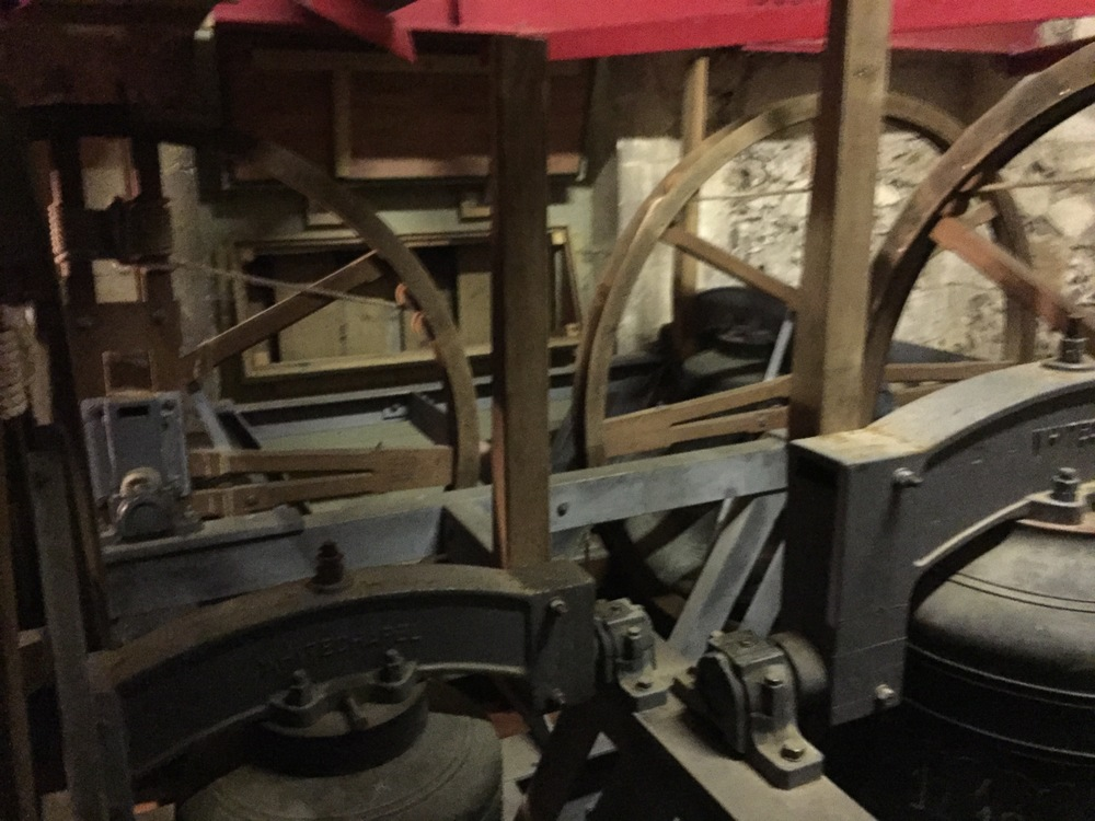 The bells in the belltower of the parish church of Hursley, Hampshire.  Two of the bells date to 1616.