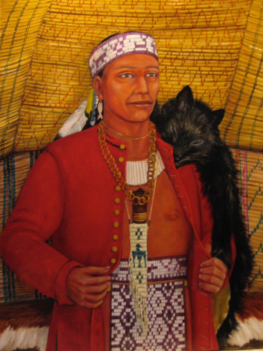 Massasoit wearing the red horseman's coat that he was given as a gift in the spring of 1621 by Edward Winslow and Stephen Hopkins on behalf of the Plymouth colonists. Painting courtesy of  Ruth DeWilde-Major .