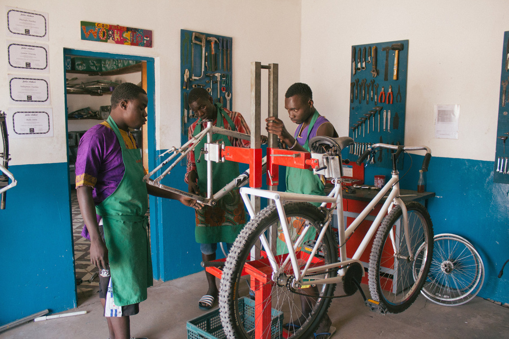 The main Bikes4Africa workshop where the school bikes are repaired
