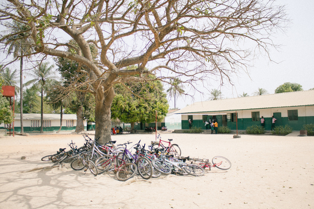 The playground where the bikes were kept at one of the schools visited
