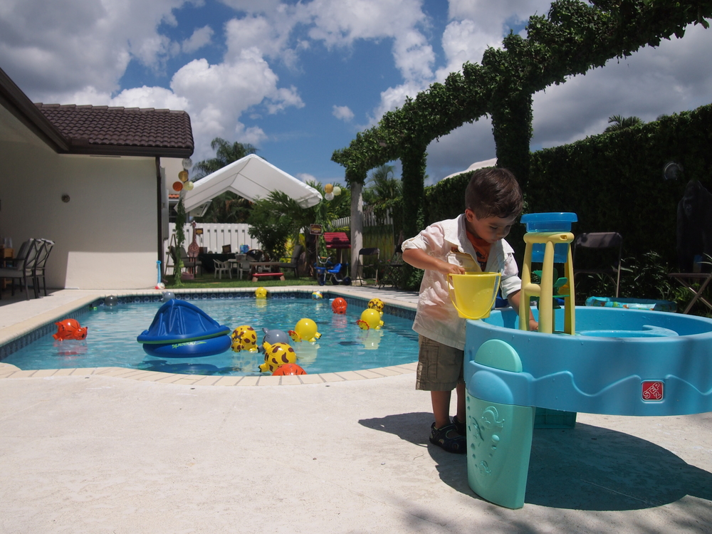 Checking out the water table before guests arrived. (note all the safari animal beach balls in the pool, so cute!)